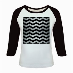 Chevron3 Black Marble & Silver Brushed Metal Kids Baseball Jersey