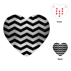 Chevron3 Black Marble & Silver Brushed Metal Playing Cards (heart)