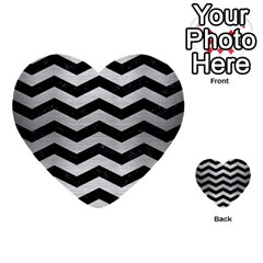 Chevron3 Black Marble & Silver Brushed Metal Multi Purpose Cards (heart)