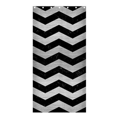 Chevron3 Black Marble & Silver Brushed Metal Shower Curtain 36  X 72  (stall)