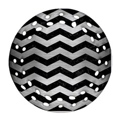 Chevron3 Black Marble & Silver Brushed Metal Ornament (round Filigree)