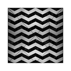 Chevron3 Black Marble & Silver Brushed Metal Acrylic Tangram Puzzle (6  X 6 )