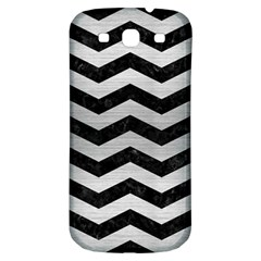 Chevron3 Black Marble & Silver Brushed Metal Samsung Galaxy S3 S Iii Classic Hardshell Back Case