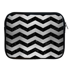 Chevron3 Black Marble & Silver Brushed Metal Apple Ipad Zipper Case