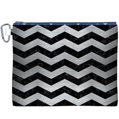 Chevron3 Black Marble & Silver Brushed Metal Canvas Cosmetic Bag (xxxl)