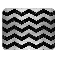Chevron3 Black Marble & Silver Brushed Metal Double Sided Flano Blanket (large)