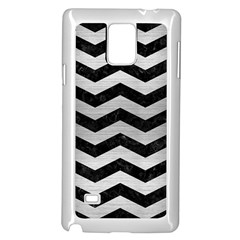 Chevron3 Black Marble & Silver Brushed Metal Samsung Galaxy Note 4 Case (white)