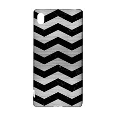 Chevron3 Black Marble & Silver Brushed Metal Sony Xperia Z3+ Hardshell Case