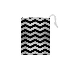 Chevron3 Black Marble & Silver Brushed Metal Drawstring Pouch (xs)
