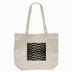 Chevron2 Black Marble & Silver Brushed Metal Tote Bag (cream)