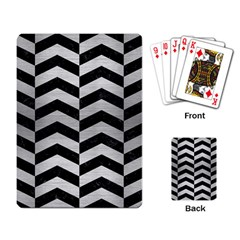 Chevron2 Black Marble & Silver Brushed Metal Playing Cards Single Design