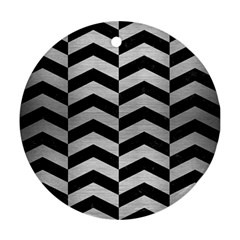 Chevron2 Black Marble & Silver Brushed Metal Round Ornament (two Sides)