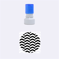 Chevron2 Black Marble & Silver Brushed Metal Rubber Stamp Round (small)