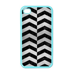 Chevron2 Black Marble & Silver Brushed Metal Apple Iphone 4 Case (color)