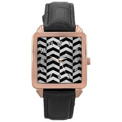 Chevron2 Black Marble & Silver Brushed Metal Rose Gold Leather Watch