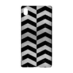 Chevron2 Black Marble & Silver Brushed Metal Sony Xperia Z3+ Hardshell Case