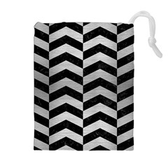CHV2 BK MARBLE SILVER Drawstring Pouches (Extra Large)