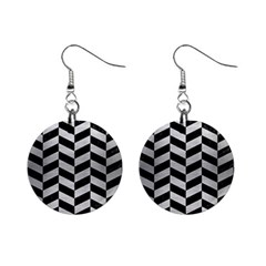 Chevron1 Black Marble & Silver Brushed Metal 1  Button Earrings
