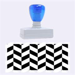 Chevron1 Black Marble & Silver Brushed Metal Rubber Stamp (large)