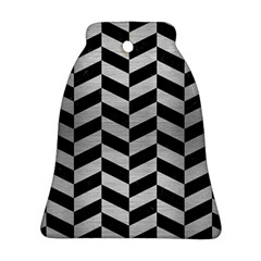 Chevron1 Black Marble & Silver Brushed Metal Ornament (bell)