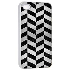 Chevron1 Black Marble & Silver Brushed Metal Apple Iphone 4/4s Seamless Case (white)