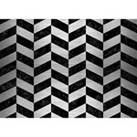 CHEVRON1 BLACK MARBLE & SILVER BRUSHED METAL TAKE CARE 3D Greeting Card (7x5) Front