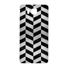 Chevron1 Black Marble & Silver Brushed Metal Samsung Galaxy Alpha Hardshell Back Case