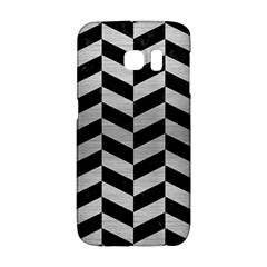 Chevron1 Black Marble & Silver Brushed Metal Samsung Galaxy S6 Edge Hardshell Case