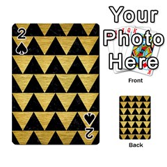 Triangle2 Black Marble & Gold Brushed Metal Playing Cards 54 Designs