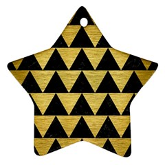 Triangle2 Black Marble & Gold Brushed Metal Star Ornament (two Sides)