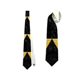 Triangle2 Black Marble & Gold Brushed Metal Necktie (one Side)