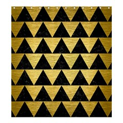 Triangle2 Black Marble & Gold Brushed Metal Shower Curtain 66  X 72  (large)