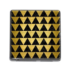 Triangle2 Black Marble & Gold Brushed Metal Memory Card Reader (square)