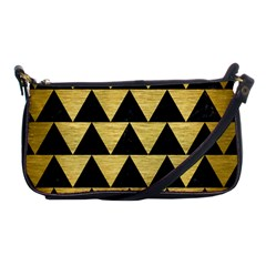 Triangle2 Black Marble & Gold Brushed Metal Shoulder Clutch Bag