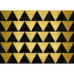 Triangle2 Black Marble & Gold Brushed Metal Birthday Cake 3d Greeting Card (7x5)