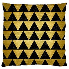 Triangle2 Black Marble & Gold Brushed Metal Standard Flano Cushion Case (one Side)
