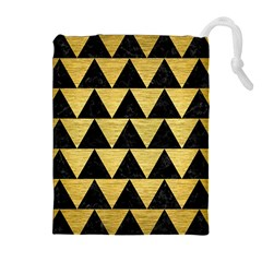 Triangle2 Black Marble & Gold Brushed Metal Drawstring Pouch (xl)