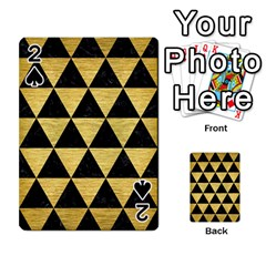 Triangle3 Black Marble & Gold Brushed Metal Playing Cards 54 Designs