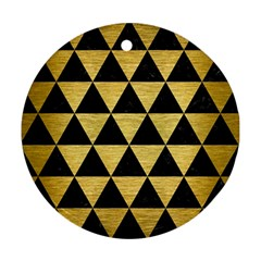 Triangle3 Black Marble & Gold Brushed Metal Round Ornament (two Sides)