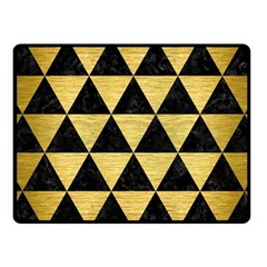 Triangle3 Black Marble & Gold Brushed Metal Fleece Blanket (small)