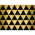 TRIANGLE3 BLACK MARBLE & GOLD BRUSHED METAL You Rock 3D Greeting Card (7x5) Front