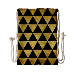 Triangle3 Black Marble & Gold Brushed Metal Drawstring Bag (small)
