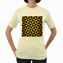 Triangle1 Black Marble & Gold Brushed Metal Women s Yellow T Shirt