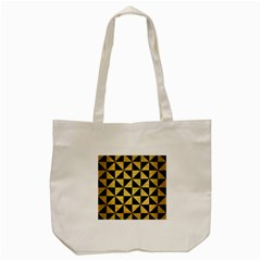 Triangle1 Black Marble & Gold Brushed Metal Tote Bag (cream)