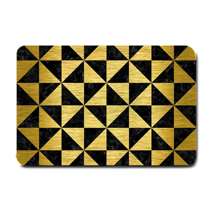 TRIANGLE1 BLACK MARBLE & GOLD BRUSHED METAL Small Doormat