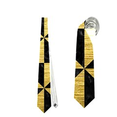 Triangle1 Black Marble & Gold Brushed Metal Necktie (two Side)