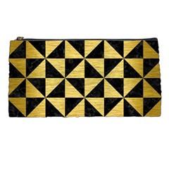 Triangle1 Black Marble & Gold Brushed Metal Pencil Case