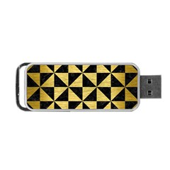 Triangle1 Black Marble & Gold Brushed Metal Portable Usb Flash (two Sides)