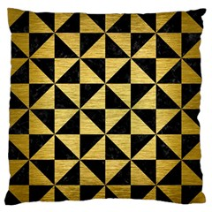 Triangle1 Black Marble & Gold Brushed Metal Standard Flano Cushion Case (two Sides)