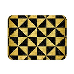 Triangle1 Black Marble & Gold Brushed Metal Double Sided Flano Blanket (mini)